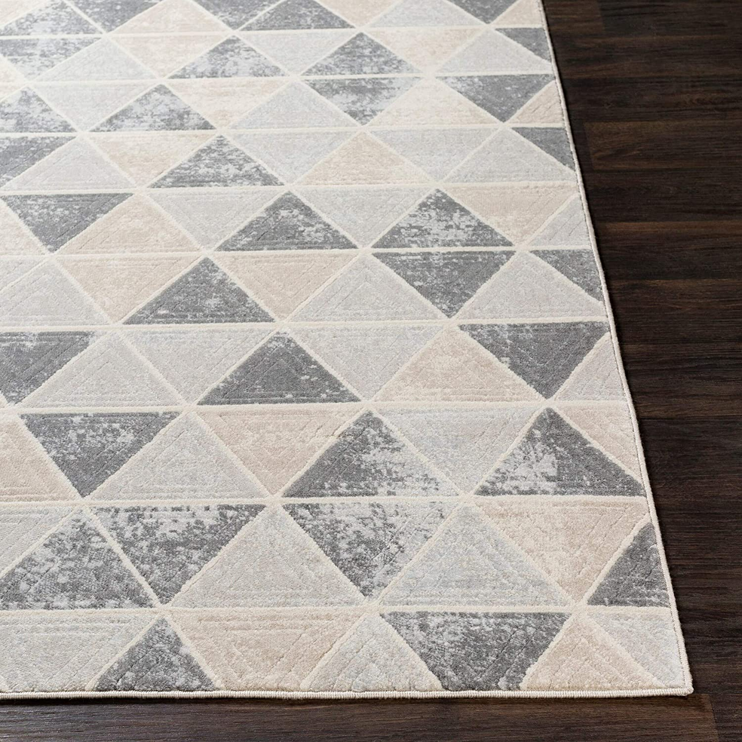 "Taupe Distressed Contemporary Area Rug 5'3"" X 7'3"" Brown Grey Geometric Modern Polypropylene Synthetic Latex Free Pet Friendly Stain Resistant"