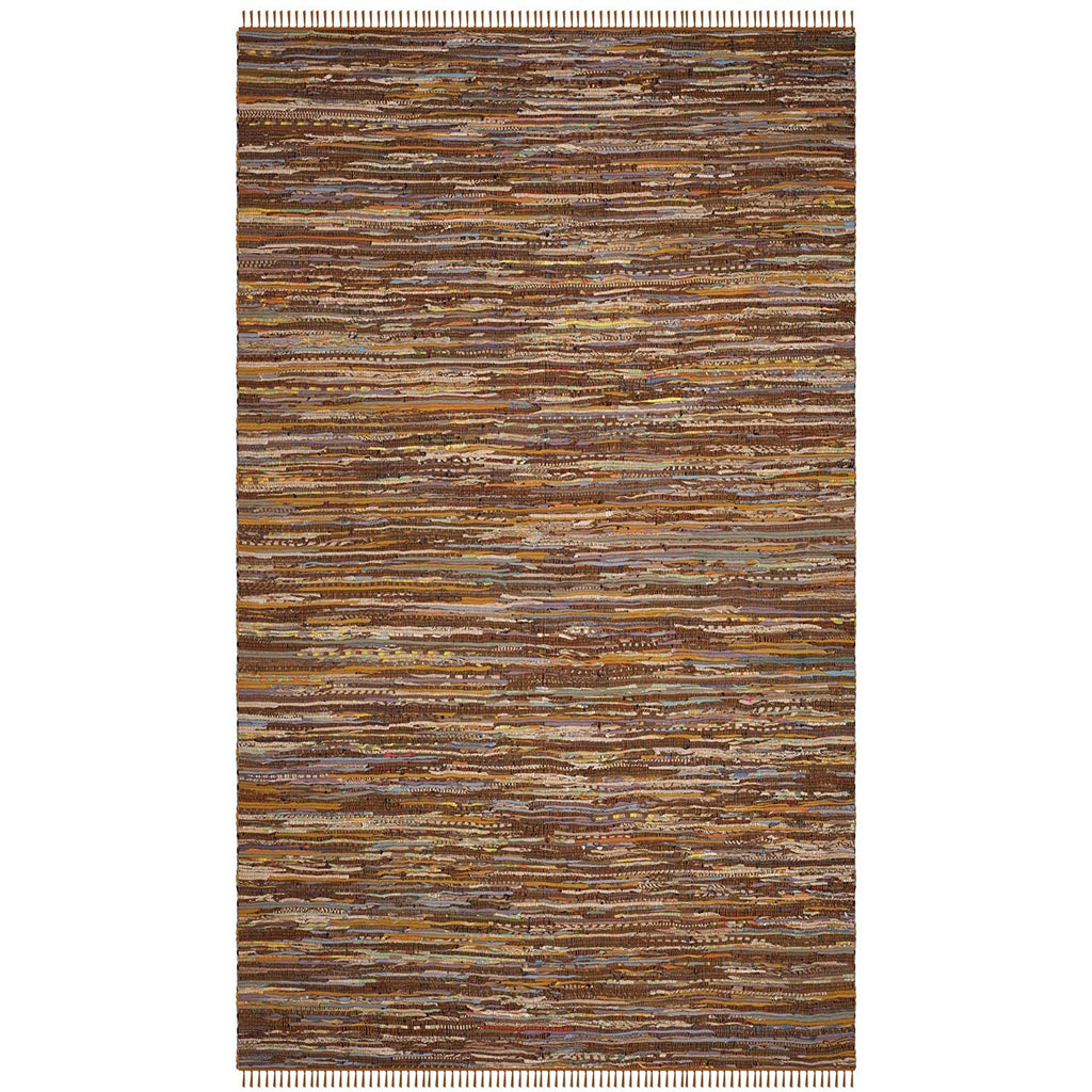 Brown Rag Rug 2x4Ft Striped Carpet Handmade Rectangle Shaped Bathroom Entryway Kitchen Bohemian Mattress Eclectic Indoor Accent Rug Vibrant