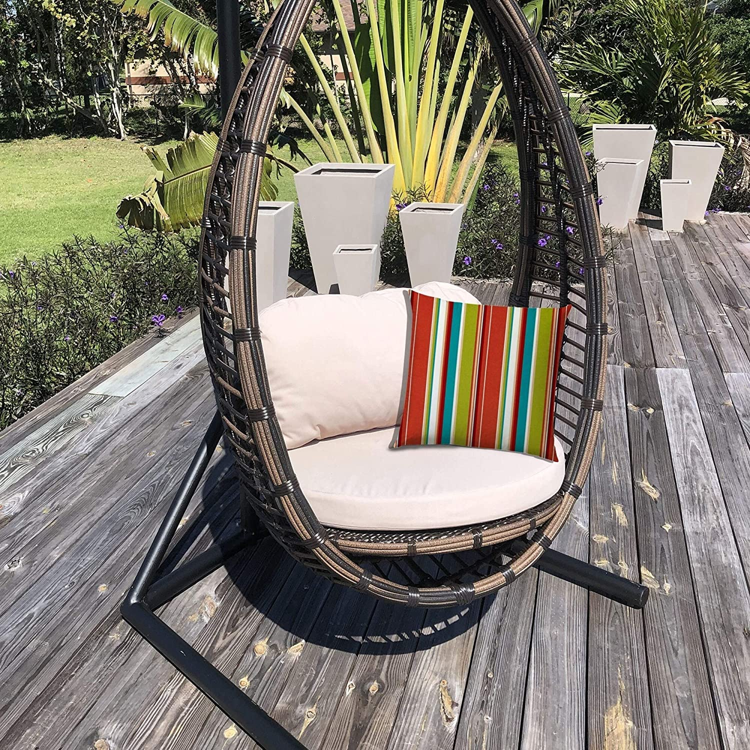 Indoor/Outdoor Pillow Sewn Closure (Set 2) Color Striped Modern Contemporary Polyester Water Resistant