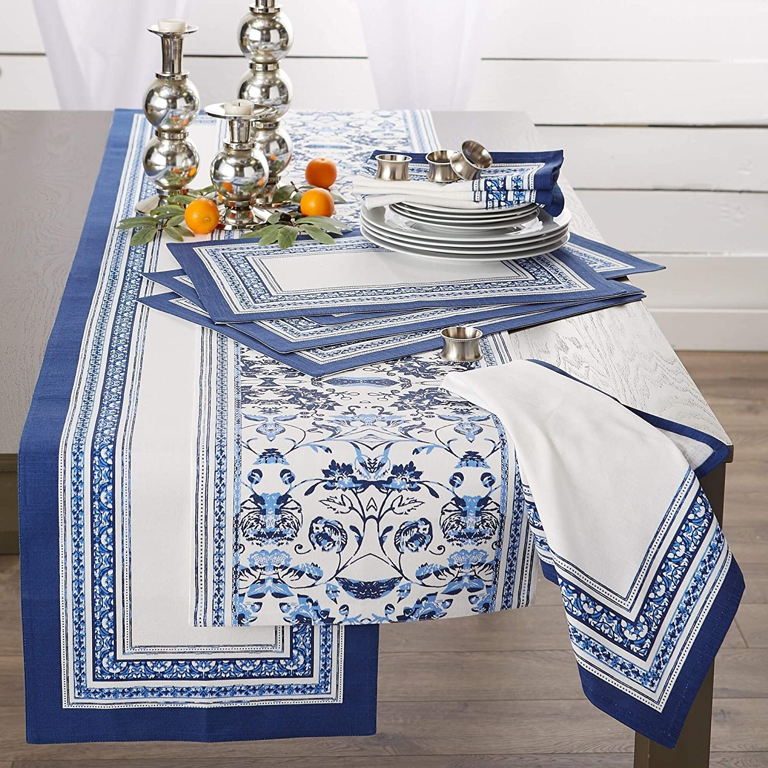 Stripe Napkin (Set 6) Blue Square Cotton