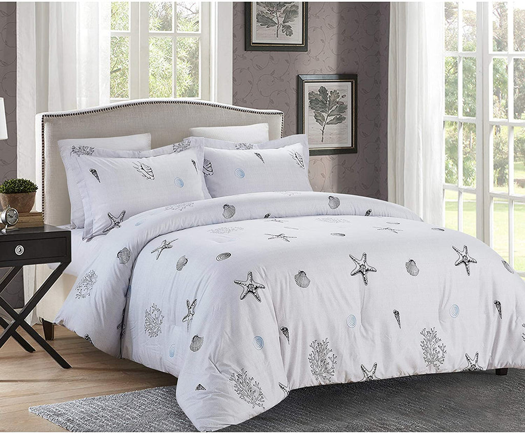 King Shells Comforter Set White Nature Microfiber