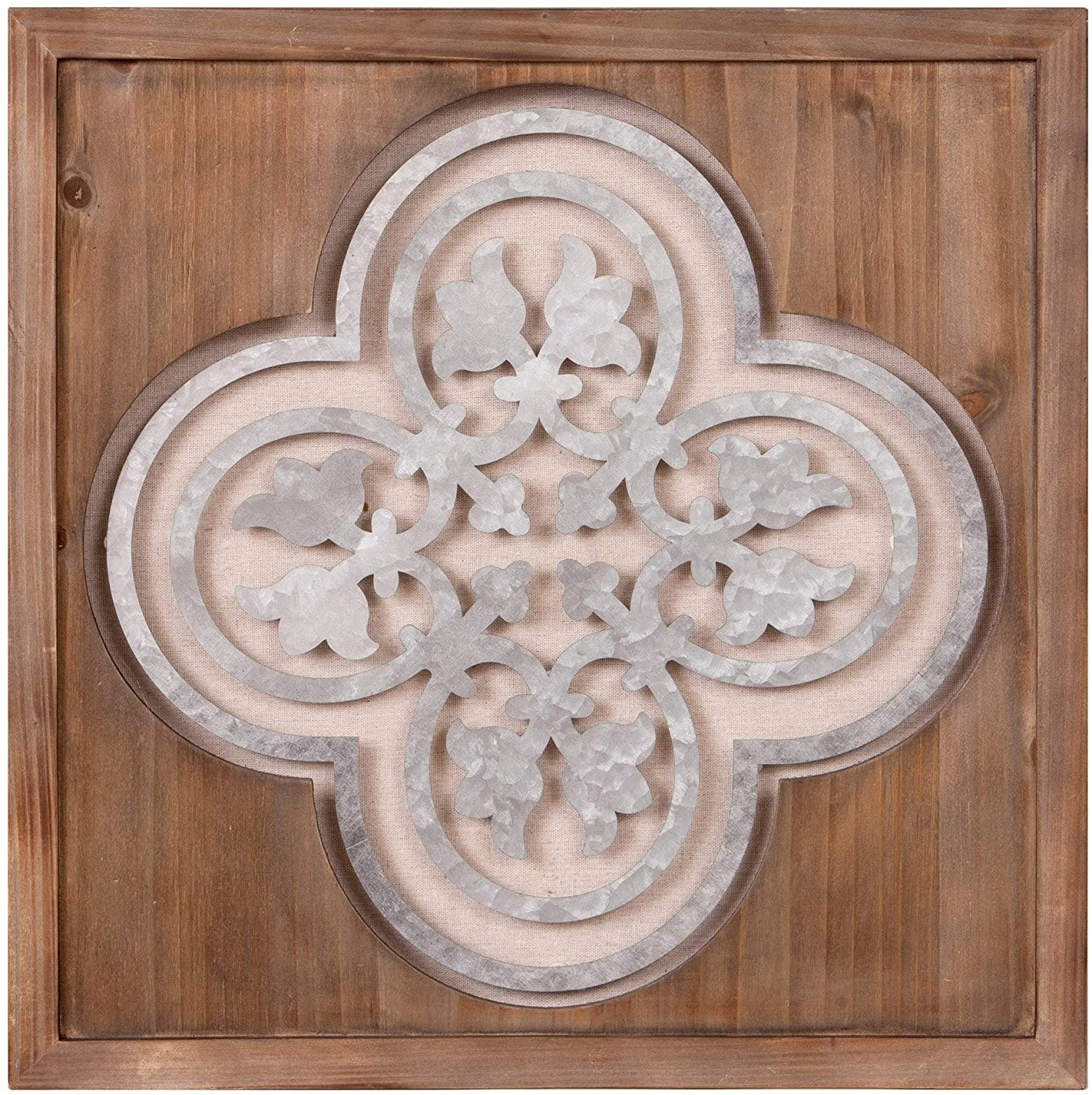 Wall Decor Square Wood Frame Medallion Cut Out Brown Modern Contemporary Rustic Traditional