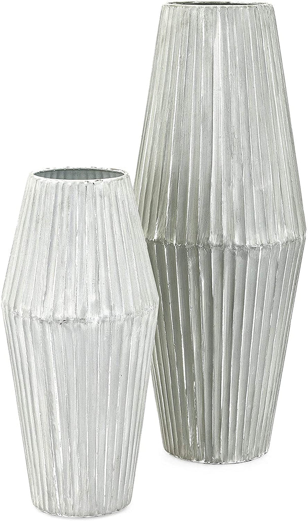 Set Two Metallic Vases White Gray Grey Modern Contemporary Metal