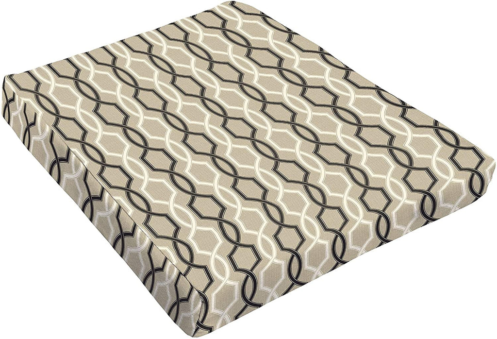 Black Tan Indoor/Outdoor 18 Tapered Cushion Grey Geometric Modern Contemporary Traditional Transitional Polyester Fade Resistant Uv Water