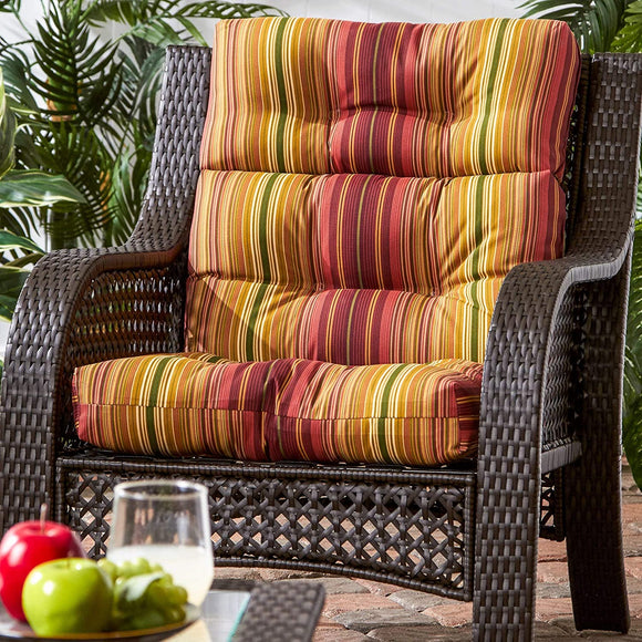 3 Section Outdoor Stripe High Back Chair Cushion Red Yellow Striped Traditional Transitional Fabric Polyester Fade Resistant Uv Water