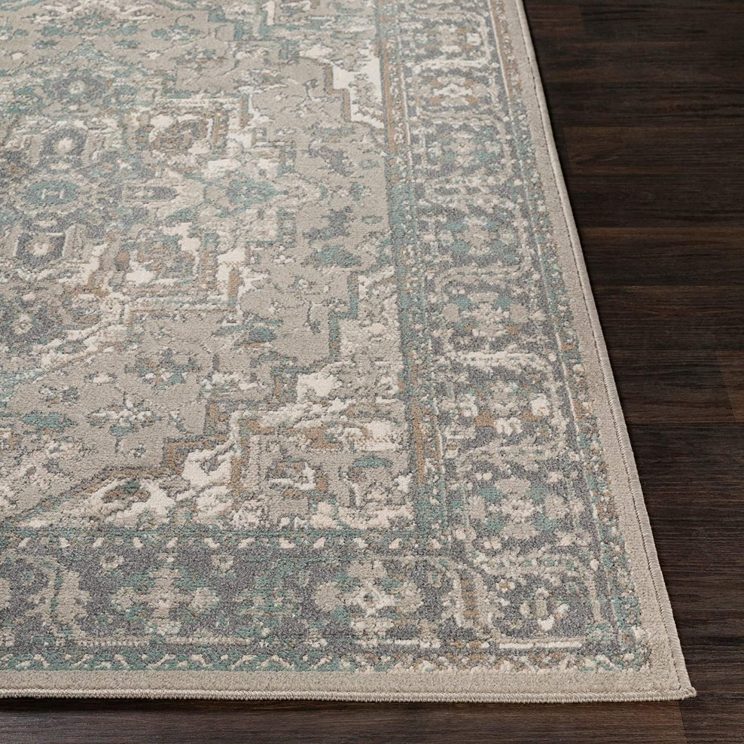 "MISC Charcoal/Beige Traditional Area Rug 7'10"" X 10'3"" Brown Grey Polypropylene Synthetic Latex Free Pet Friendly Stain Resistant"