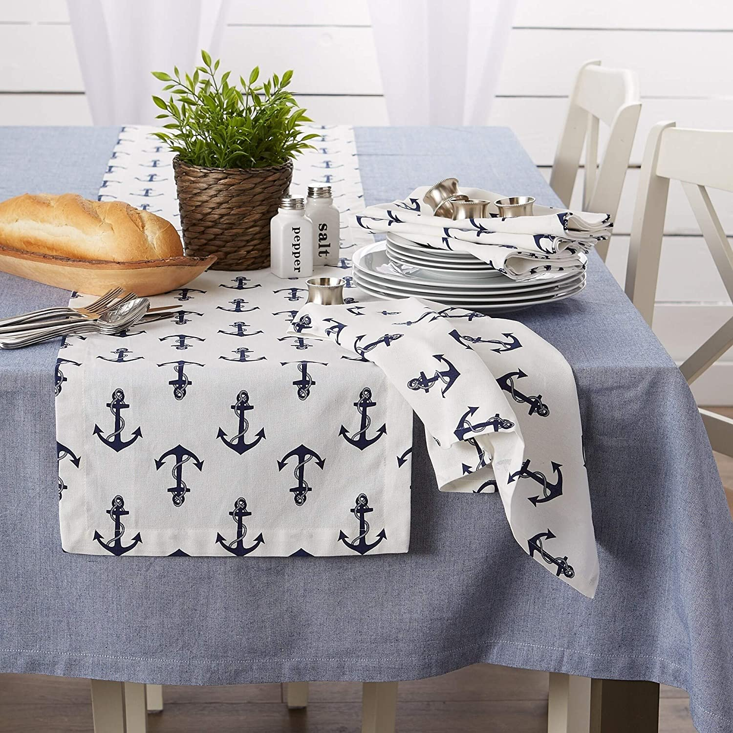 Maritime Spread Kitchen Textiles 20x20 Anchors Away 6 Pieces Square Cotton