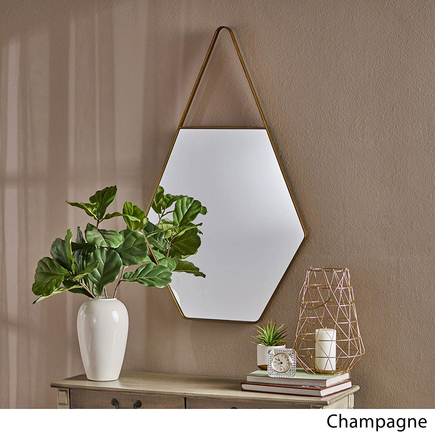 Hexagon Mirror Wall Mounted Hexagonal Hanging Horizontal Modern Brown Metal Glass