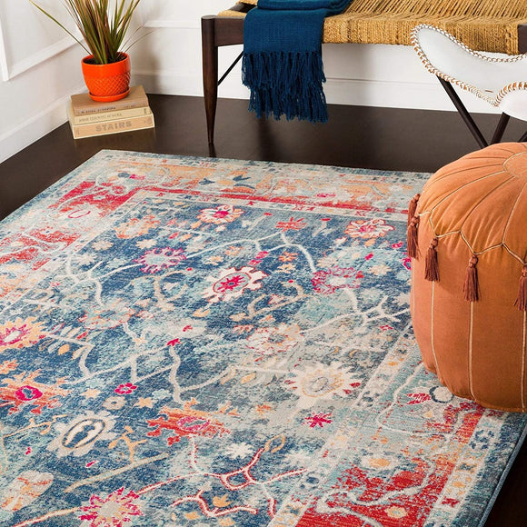 MISC Navy Red Updated Traditional Area Rug 3'11