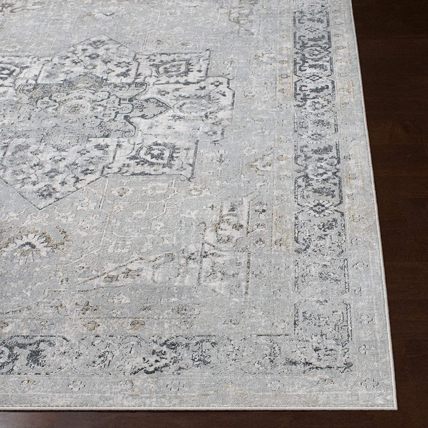 "MISC Traditional Area Rug 2'7"" X 7'7"" Runner Brown Grey White Polyester Viscose Latex Free Pet Friendly Stain Resistant"