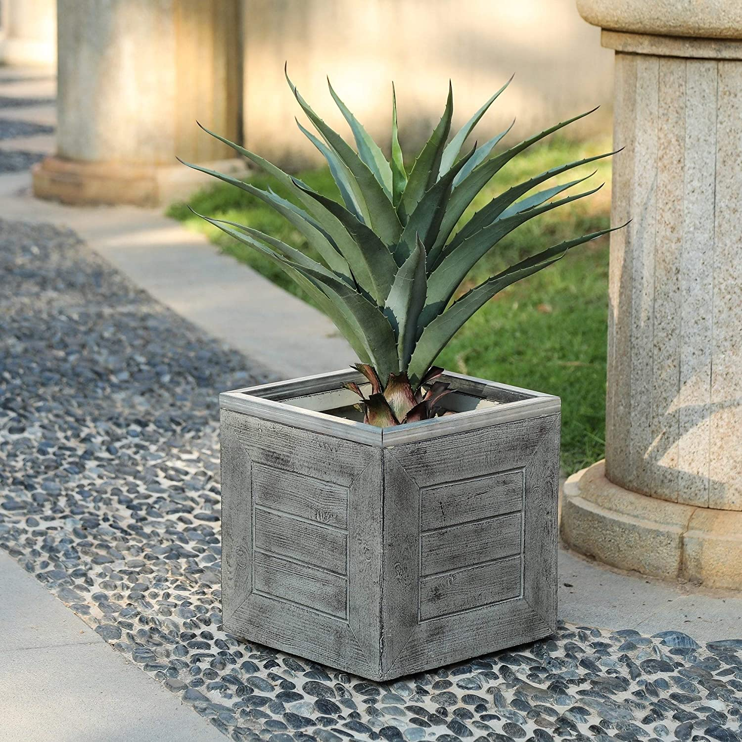 13in H Square Mgo Crate Planter Grey Farmhouse Rustic