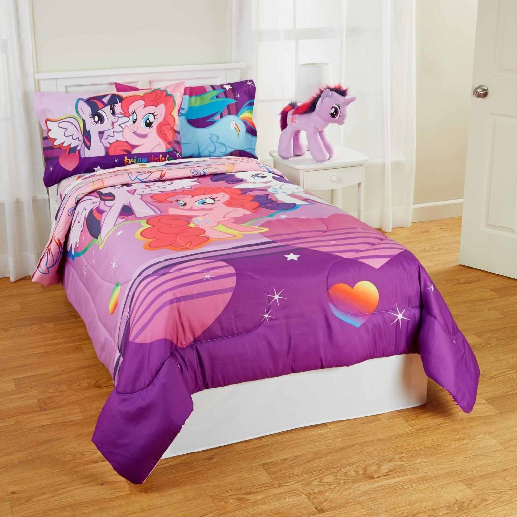 Girls Purple My Little Pony Friendship Is Magic Serial Theme Comforter Full Set Cute Movie Characters Animated Cartoom Fun Printed Bedding Vibrant - Diamond Home USA