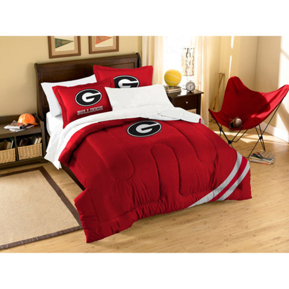 NCAA University Georgia Bulldogs Comforter Twin Set Sports Patterned Bedding Team Logo Fan Merchandise Team Spirit College Foot Ball Themed Red Unisex