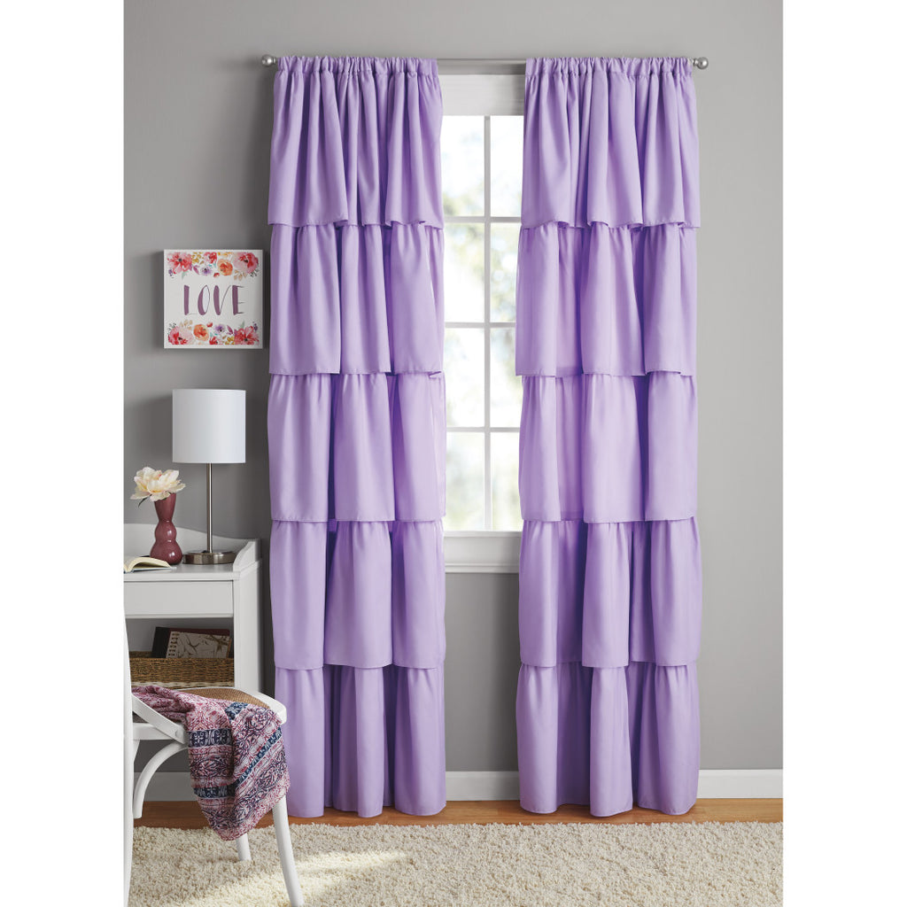 Ruffled Window Curtain Frilly Drape Burlap Solid Five Cascading Layers Drapery Girls Bedroom Privacy Providing