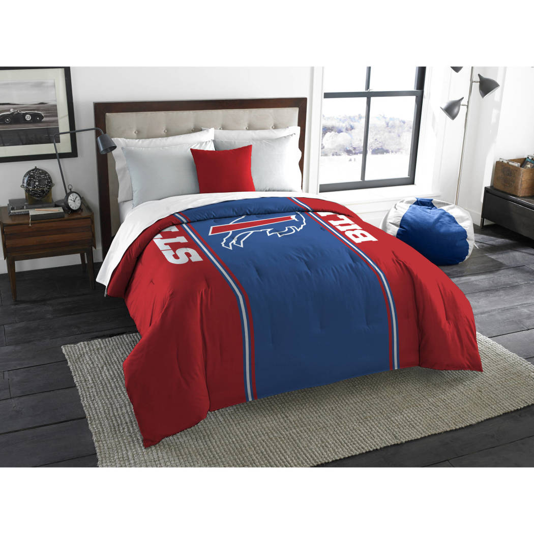 NFL Buffalo Bills Comforter Full Sports Patterned Bedding Team Logo Fan Merchandise Team Spirit Football Themed National Football League Blue Red