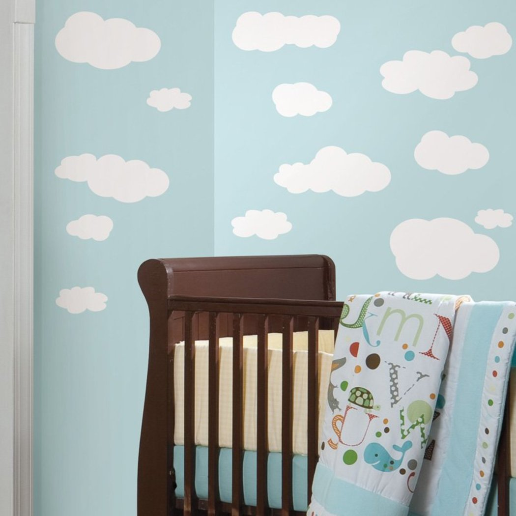 Kids White Clouds Wall Decals Set Outdoor Themed Wall Stickers Peel Stick Fun Fluffy Sky Blue Cute Adorable Cartoon Weather Skyline Decorative Graphic Mural Art Vinyl - Diamond Home USA