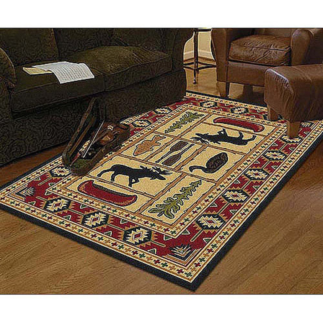 Southwest Moose Area Rug Rectangle Shaped Indoor Cabin Fishing Carpet Living Room Rustic Lodge Canoe Trees Lake