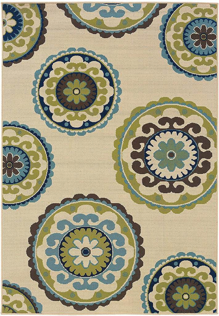"Rectangle Rug/Caspian 2 Ft 3 X 7 6 / Outdoor/Floral 2'3"" X 7'6"" Ivory Modern Contemporary Polypropylene Latex Free"