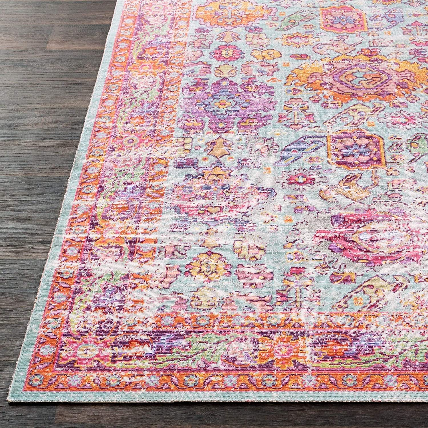 "Vintage Distressed Oriental Pink Area Rug 5'3"" X 7'3"" Rectangle Polyester Latex Free"