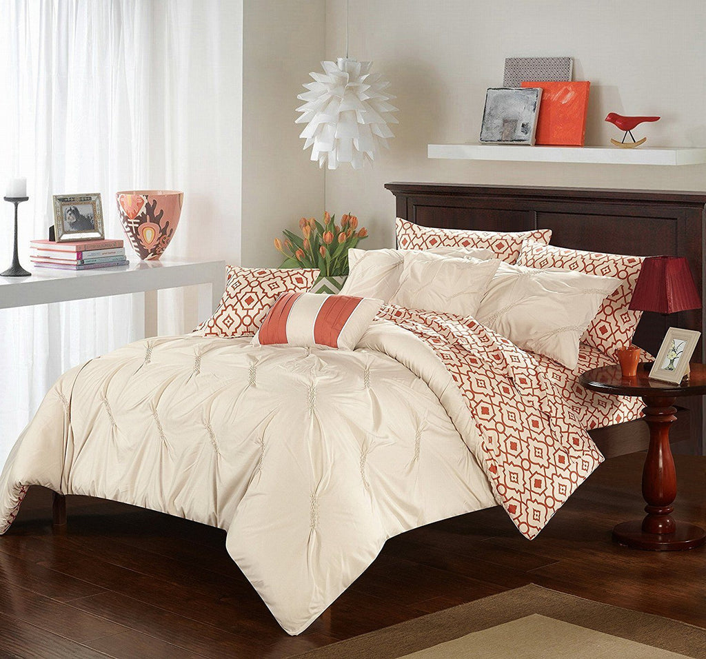 Beige Pinch Pleated Ruffled Comforter Set Queen Sheets Brown Orange Co Diamond Home
