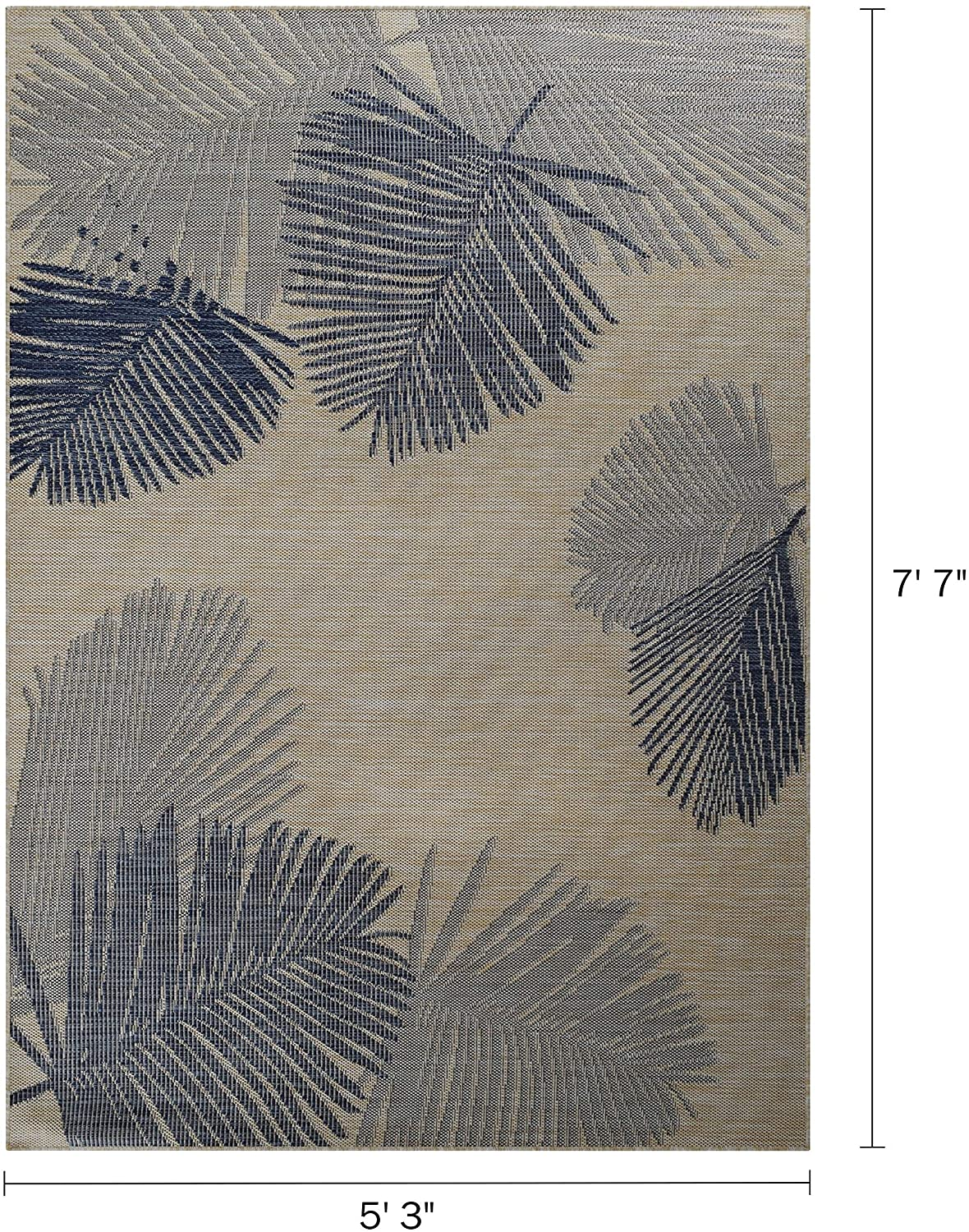MISC Tropical Palm Indoor/Outdoor Area Rug by 5 X 7 Blue Tan Floral Botanical Nautical Coastal Rectangle Polypropylene Latex Free Non Slip Stain