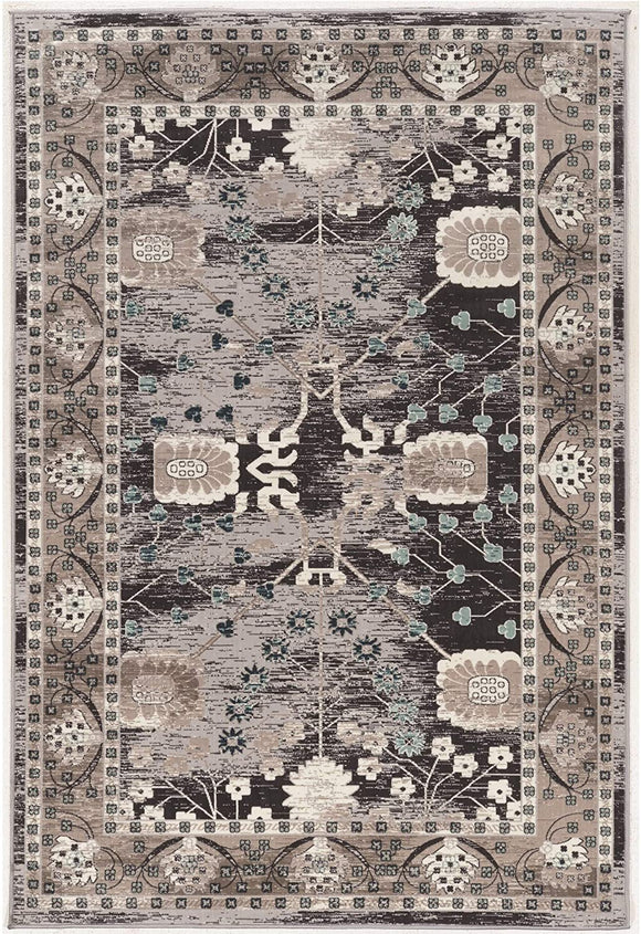 Vintage Collection Zeigler Beige Grey Brown Border Oriental Traditional Transitional Rectangle Polyester Latex Free