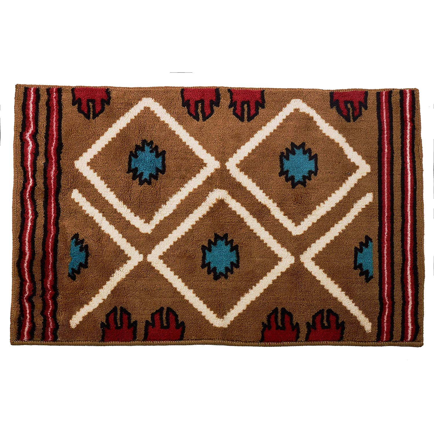 "Moroccan Floor Mat L Size Arabic Large Bath Mat Bathroom Rug Non Slip Shower Mat Oriental Carpet Brown 24"" x 36"" Acrylic"