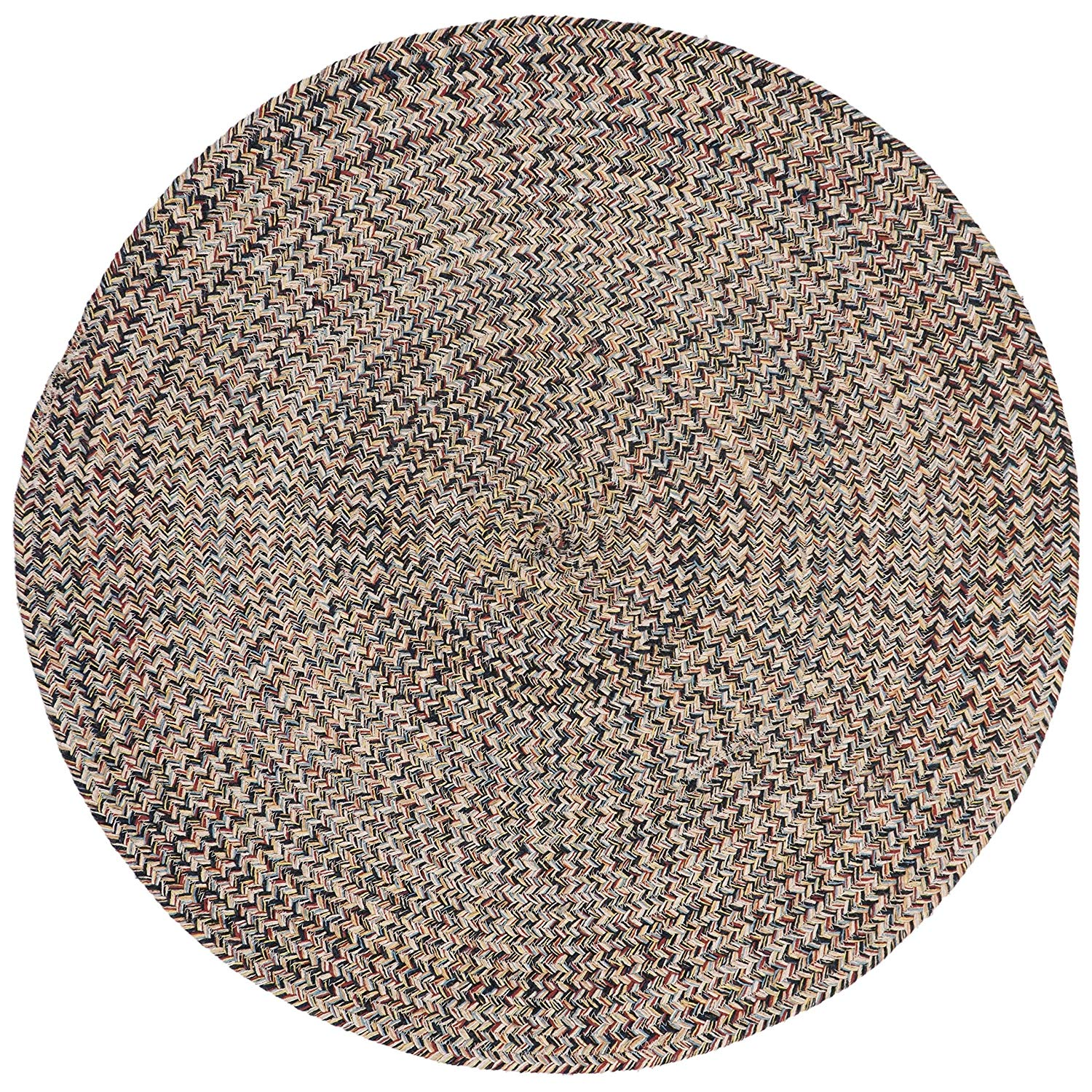 6ft Braided Circular Rug Blue Ivory Red Braid Weave Round Area Rug Color Indoor Carpet Country Farmhouse Theme Circle Floor Mat Bedroom Living Dining