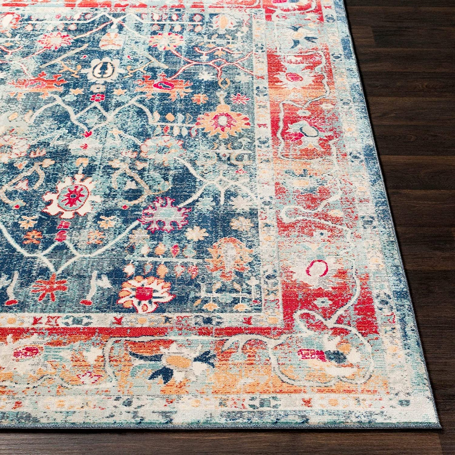 "MISC Navy Red Updated Traditional Area Rug 3'11"" X 5'7"" Blue Oriental Polypropylene Synthetic Latex Free Pet Friendly Stain Resistant"
