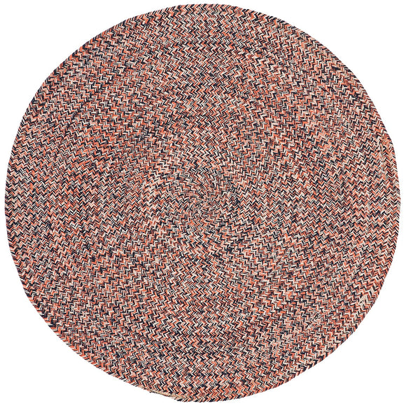 3ft Braided Circular Rug Orange Ivory Braid Weave Round Area Rug Terracotta Off White Indoor Carpet Country Farmhouse Theme Circle Floor Mat Bedroom