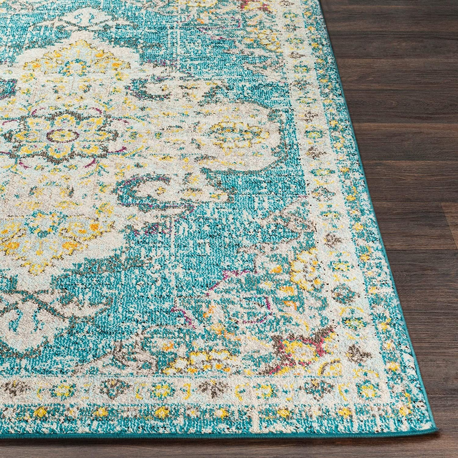 MISC Teal Vintage Distressed Medallion Area Rug 2' X 3' Blue Polypropylene Synthetic Latex Free Pet Friendly Stain Resistant