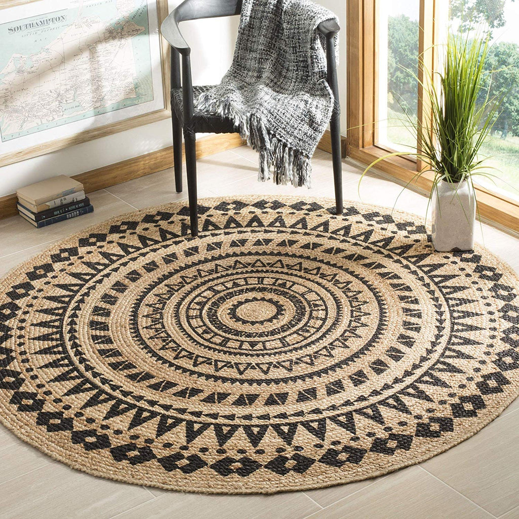 MISC Black Jute Rug 3x3 Ft Natural Sisal Rug Seagrass Mat Geometric Carpet Round Shape Bedroom Living Dining Room Indoor Mat Traditional Green