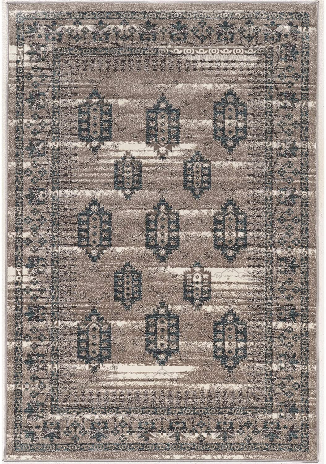 Vintage Collection Beige Grey Rug Brown Traditional Polyester Latex Free