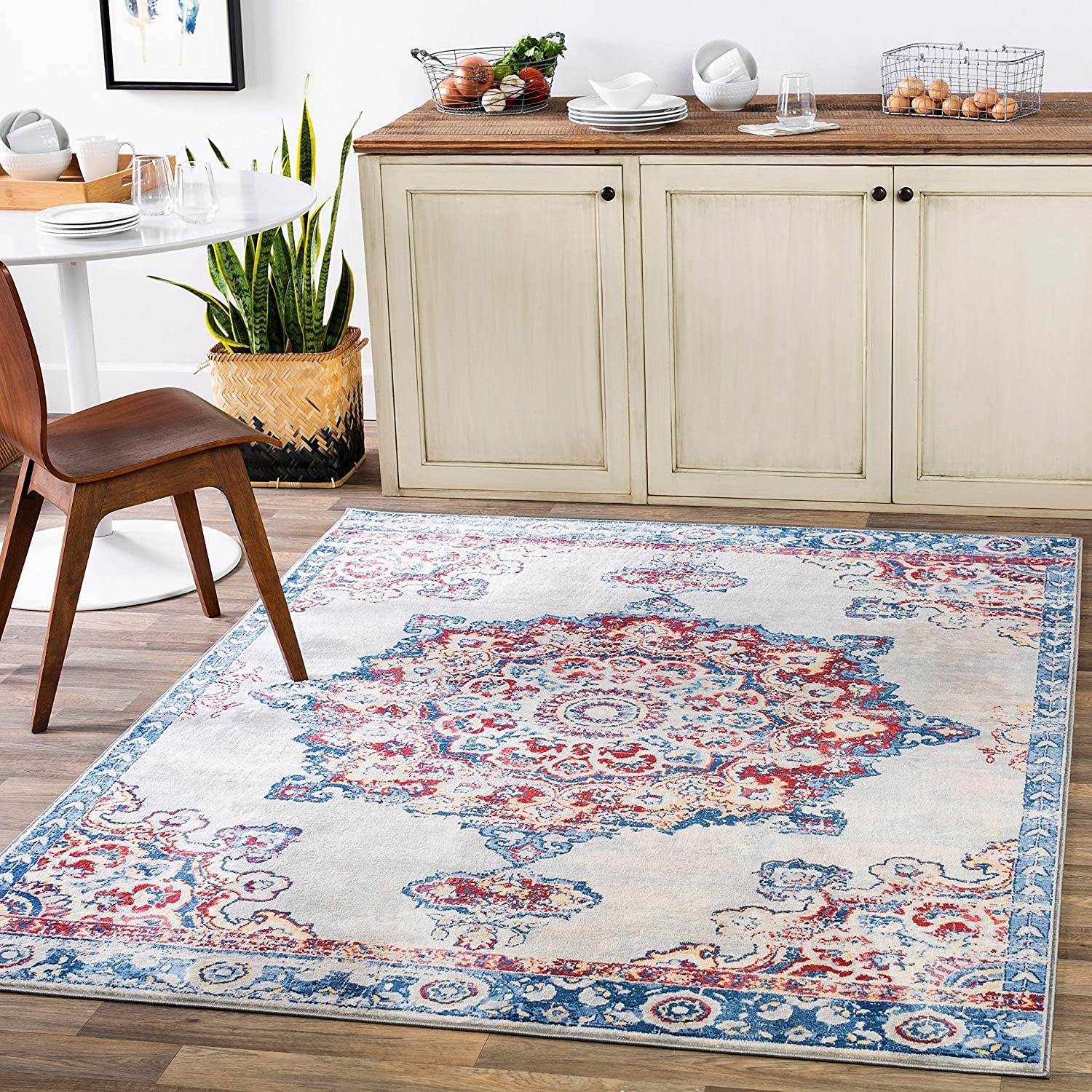 "Unknown1 Navy Persian Medallion Area Rug 5'3"" X 7'3"" Blue Cream Red Oriental Traditional Vintage Rectangle Polypropylene Synthetic Latex Free Pet"