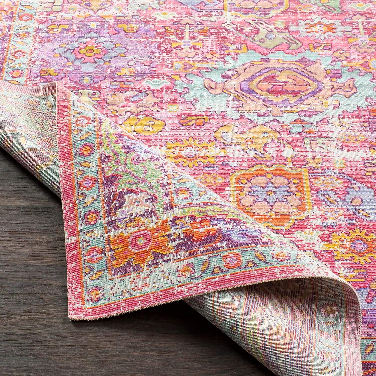 "Vintage Distressed Oriental Pink Area Rug 3'11"" X 5'11"" Rectangle Polyester Latex Free"