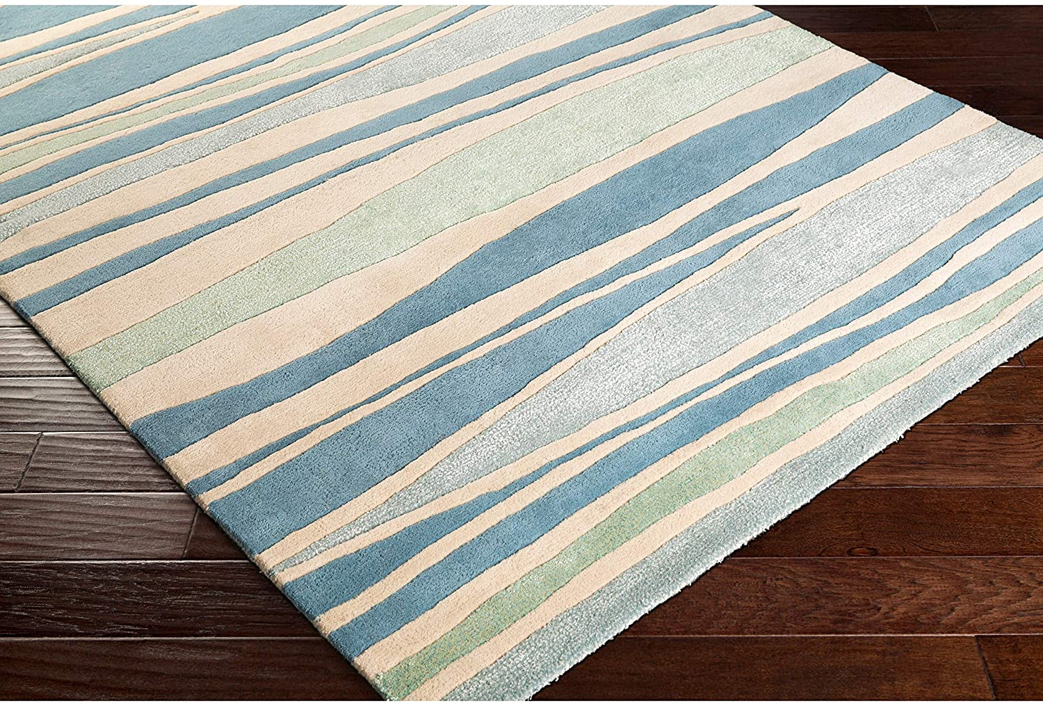 "MISC Striped Wool Area Rug (3'3 X 5'3) 3'3"" 5'3"" Blue/Green Blue Brown Green Ivory Stripe Transitional Rectangle Contains Latex Handmade"