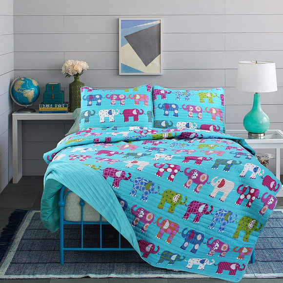 LO 2 Piece Kids Girls Teal Blue Elephant Themed Quilt Twin Set Cute Purple Bedding Green White Orange Polkadots Safari Zoo Adorable Microfiber