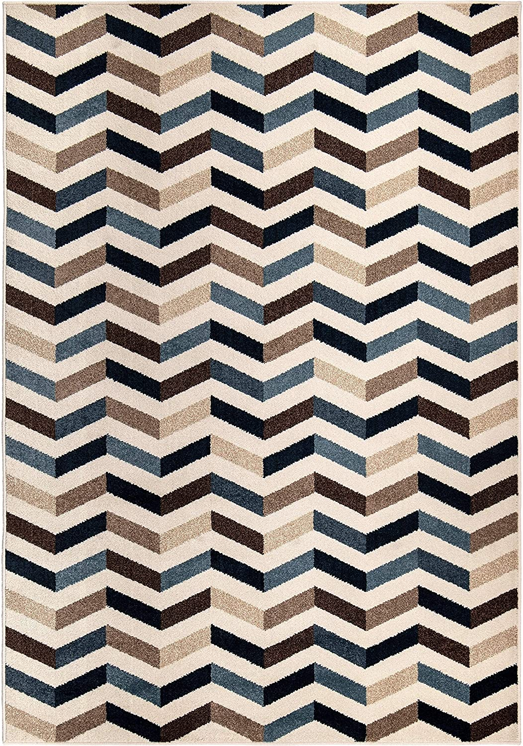 "Farmhouse Blue Area Rug (3'9"" X 5'4"") 3'11"" 5'5"" Beige Geometric Modern Contemporary Rectangle Polypropylene Contains Latex Stain Resistant"