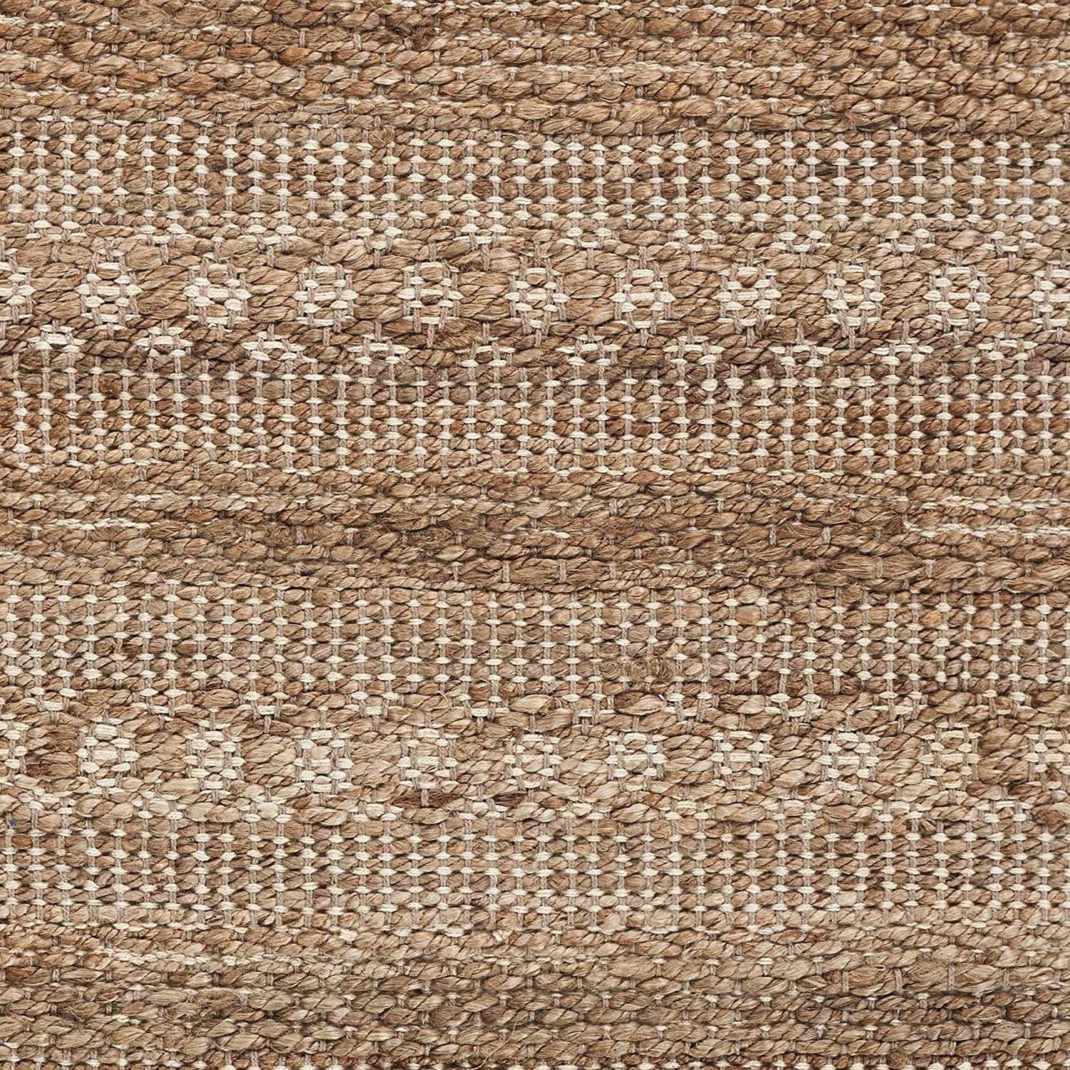 "MISC Delicate Natural Area Rug 2'6"" X 3'10"" Tan Geometric Bohemian Eclectic Casual Global Cotton Jute Contains Latex Handmade"