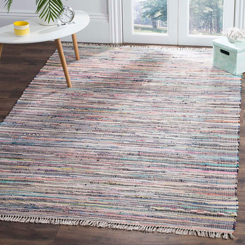 Grey Blue Rag Rug 4x6Ft Geometric Carpet Flatweave Design Rectangle Shape Living Room Indoor Hand Woven Durable Mattress Bohemian Eclectic Orange