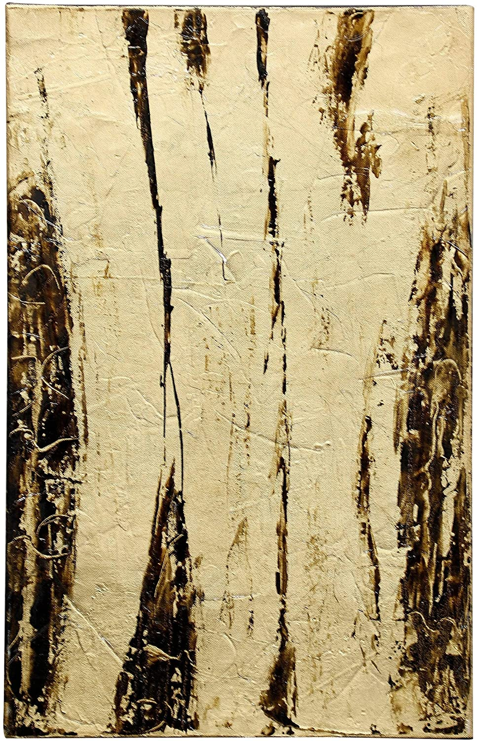 Abstract Golds Hand Painting Canvas Heavy Gloss Coat Gold Transitional Rectangle Wood Includes Hardware
