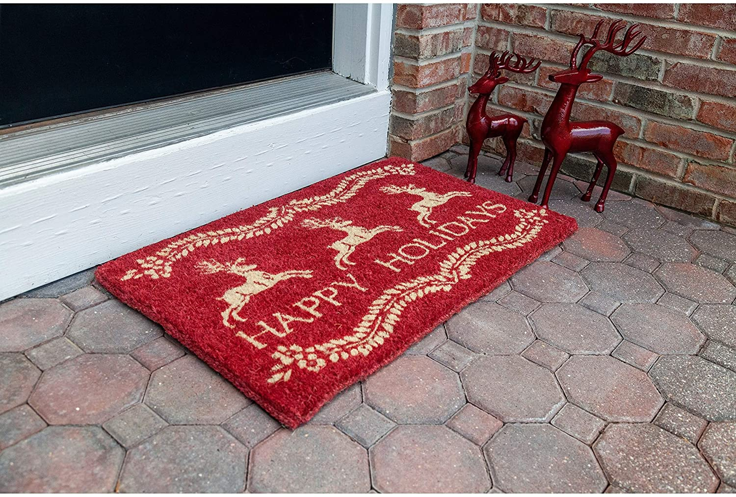 Dash Away All Handwoven Coconut Fiber Doormat 22 X 35 Red Casual Rectangle Organic All Weather