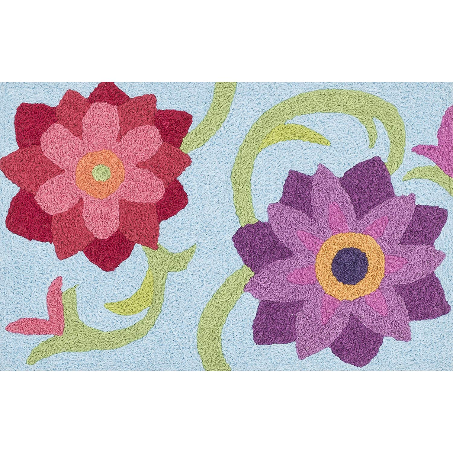 Childrens Area Rug Flowers Theme Nature Pattern Play Mat Pink Red Purple Floral Nature Blooming Flower Carpet Indoor Kids Playroom Bathroom