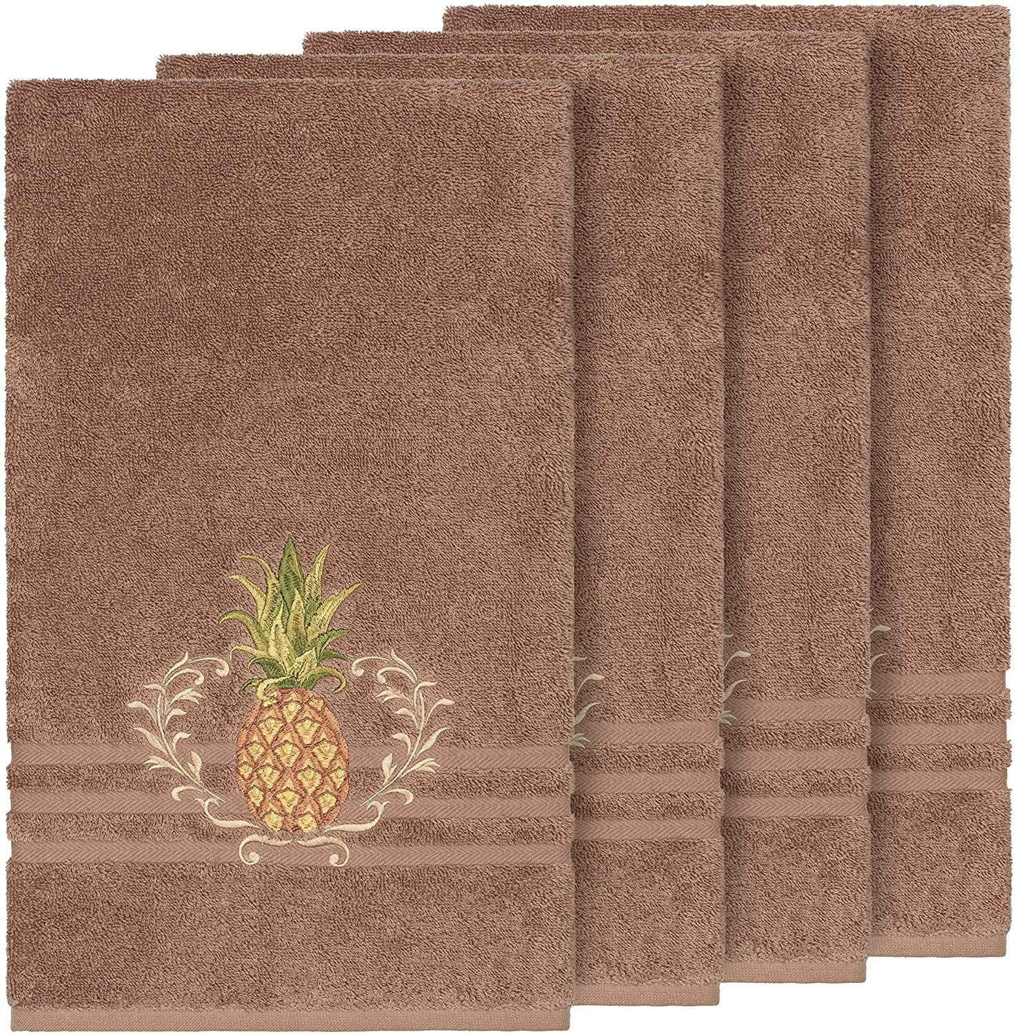 Turkish Cotton Pineapple Embroidered Latte Brown 4 Piece Bath Towel Set Cloth