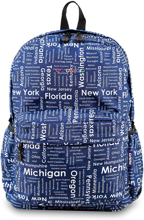 UKN Trip Blue/White Polyester Campus Backpack Blue White Geometric Checkpoint Friendly Adjustable Strap Lined