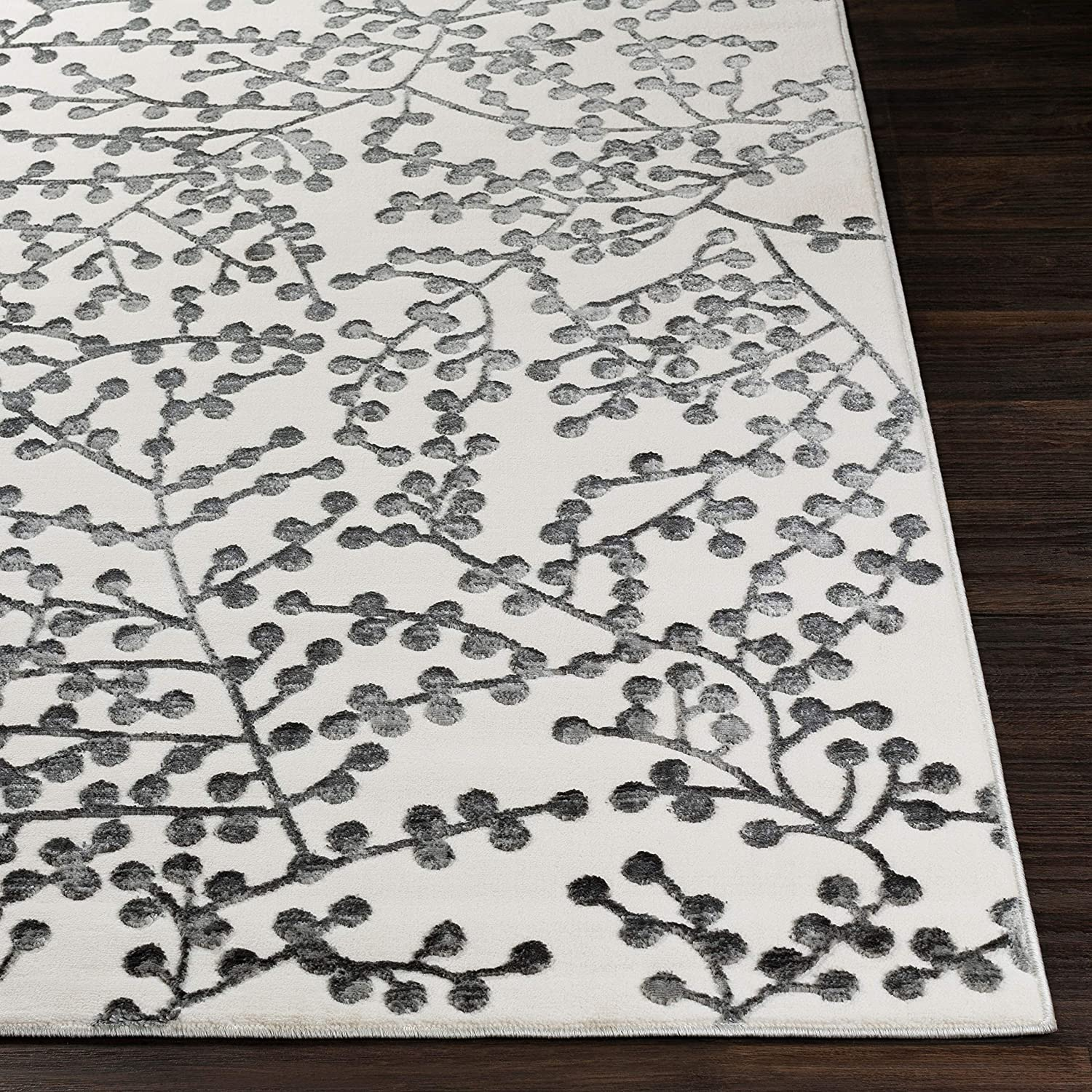 "UKN White Grey Branches Area Rug 5'3"" X 7'3"" Abstract Geometric Transitional Rectangle Polyester Synthetic Latex Free Pet Friendly Stain Resistant"