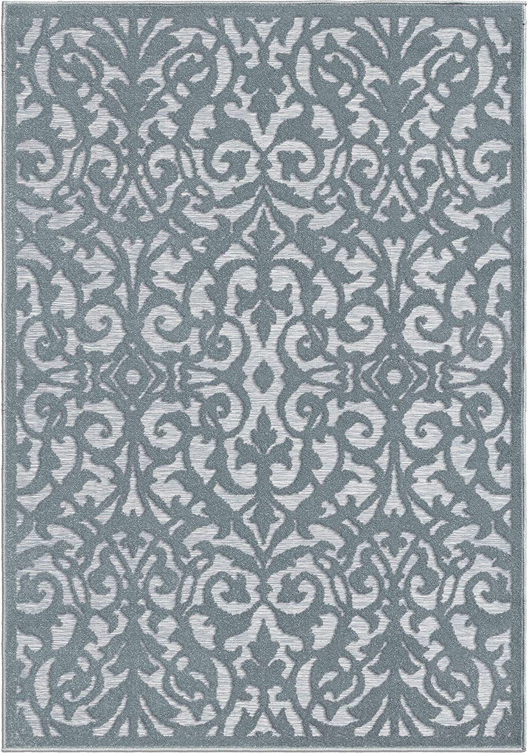 "Texas House Indoor/Outdoor Lady Bird Blue Area Rug 5'2"" X 7'6"" Floral Botanical Traditional Rectangle Polypropylene Contains Latex Stain Resistant"