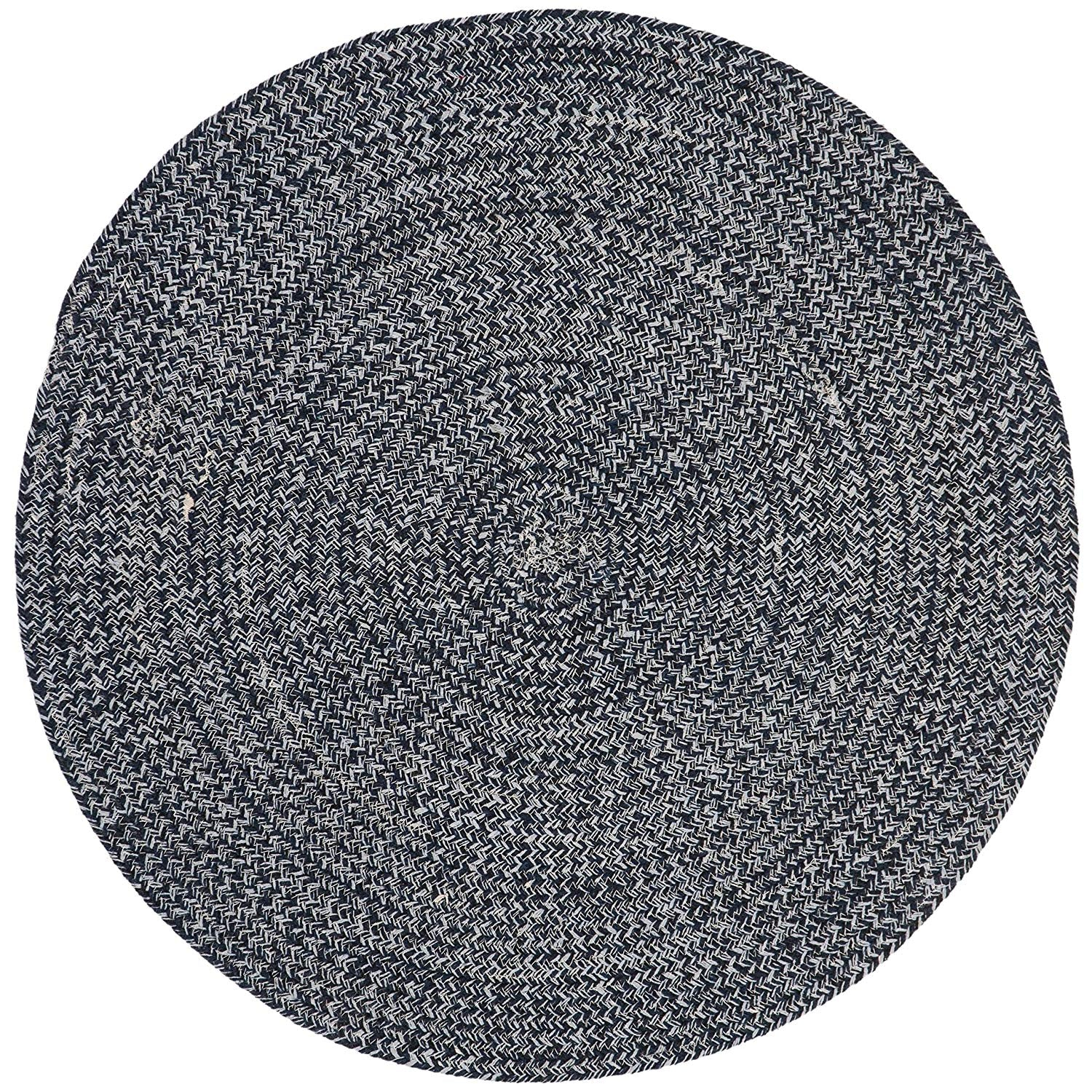 3ft Braided Circular Rug Navy Ivory Braid Weave Round Area Rug Dark Blue Off White Indoor Carpet Country Farmhouse Theme Circle Floor Mat Bedroom