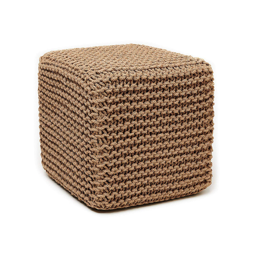 Natural Jute Ottoman Tan Knitted Rows Square Pouf Modern Knit Weave Cube Footstool Sitting Area Cottage Cabin Living Room Durable Footrest Stool 18""