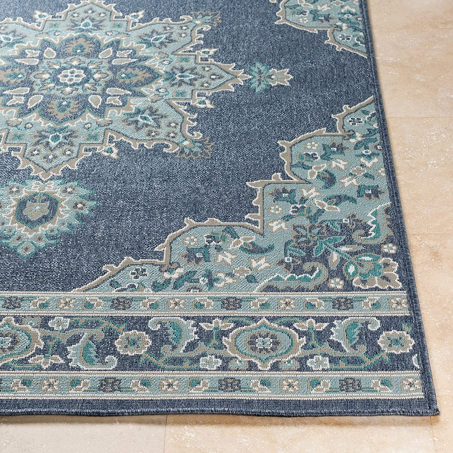 Medallion Indoor/Outdoor Area Rug Blue Transitional Rectangle Polypropylene Latex Free
